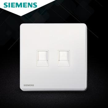 西门子开关插座面板 睿致炫白系列 6类双电脑插座