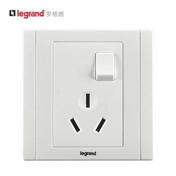罗格朗开关 插座面板 美涵白色 三孔10A带开关 墙壁电源 86型