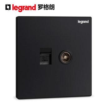 TCL罗格朗开关插座逸景碳素黑电视电脑插座86型电源插座面板