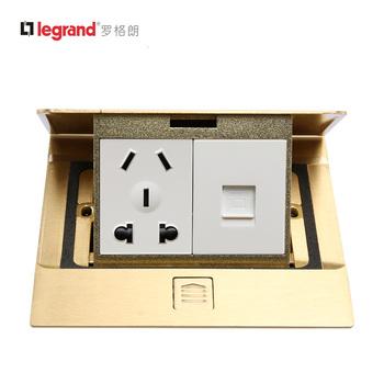 罗格朗插座 通用型铜面地插 五孔电脑插座