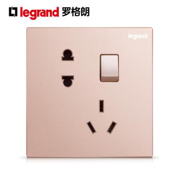罗格朗开关 插座面板 逸景樱花粉 二三插五孔带一开单控 墙壁电源 86型