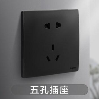 罗格朗开关 插座面板 未莱子夜黑 二三插五孔插座 墙壁电源  86型