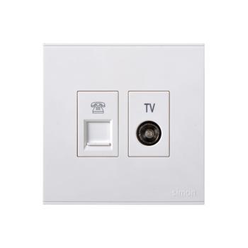 西蒙电气(SIMON)电视+电话插座(白色) 725301