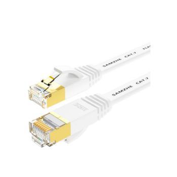 山泽(SHANZE) CAT-703A 七类屏蔽扁平网络跳线 CAT7STP扁平跳线 白色 3米