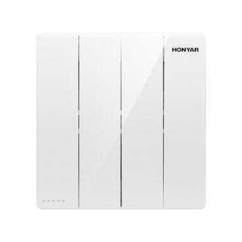 鸿雁(hongyan)纯悦Q3系列86型暗装面板四开双控开关面板 Q3-86K42Y10B 白色