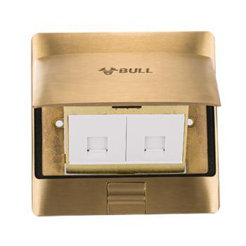 公牛(BULL)电脑电话地插纯铜防水阻尼式电话线地插座网络网线地面地板插座GD5T212