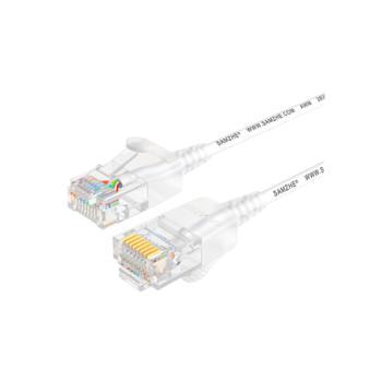 山泽(SHANZE) SZB-3200 超六类非屏蔽网络跳线UTP超细圆线网线 白色 20米