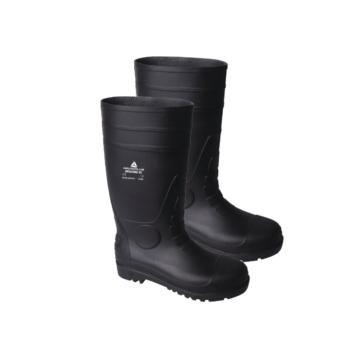 代尔塔(DELTAPLUS)高帮PVC安全靴防滑雨鞋防砸防刺穿耐酸碱黑45 301407