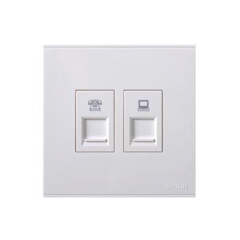 西蒙电气(SIMON)电话+信息插座(白色) 725229