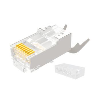 山泽 WL-10 10U 8P8C 七类屏蔽两件式网络RJ45水晶头带尾夹1.3MM线孔 10个/盒