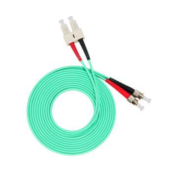 汤湖 TH-W112-5 SC-ST万兆多模双芯 φ3.0 电信级OM3光纤跳线 5米 水绿色