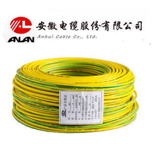 安缆黄绿 BV4平方国标铜芯电线 单芯铜线 100米