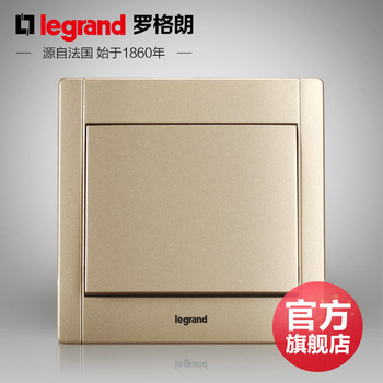 罗格朗开关 插座面板 美涵金色  一开双控  墙壁电源  86型  美涵金色