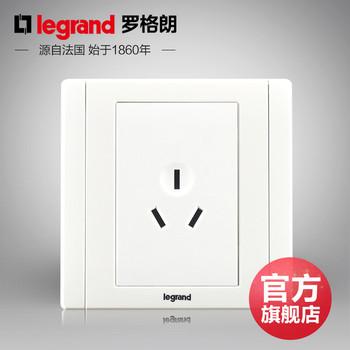 罗格朗开关 插座面板 美涵白色   三孔10A  墙壁电源  86型  美涵白色