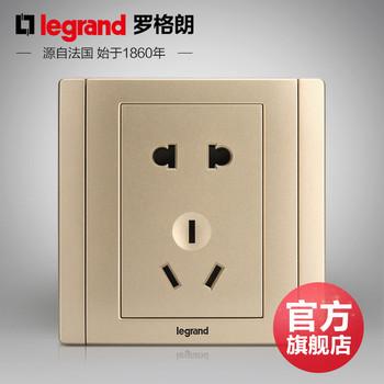 罗格朗开关 插座面板 美涵金色  二三插五孔  墙壁电源  86型  美涵金色