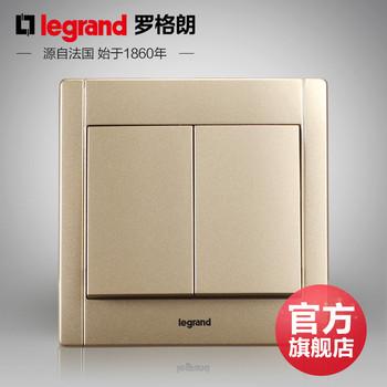 罗格朗开关 插座面板 美涵金色  二开单控  墙壁电源  86型  美涵金色