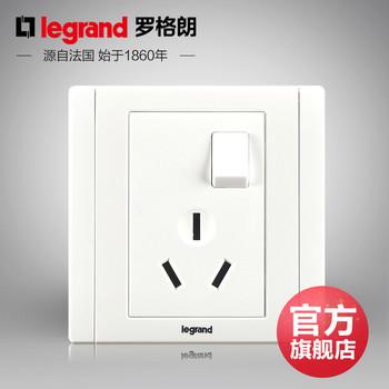 罗格朗开关 插座面板 美涵白色   三孔16A带开关热水器空调  墙壁电源  86型  美涵白色