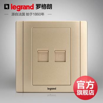 罗格朗开关 插座面板 美涵金色  二位电脑双网络  信号电源  86型   美涵金色