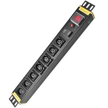Gowone 购旺 PDU机柜插座 服务器配电单元 工业插排 IEC防脱插孔 1.5U 7位C13 热插拔防雷+过载 3米线 国标10A头 I1307